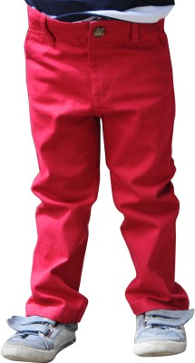 Snowflakes Regular Fit Boy's Red Trousers