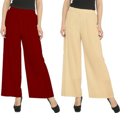 Civilized Showdown Regular Fit Women's Maroon, Beige Trousers