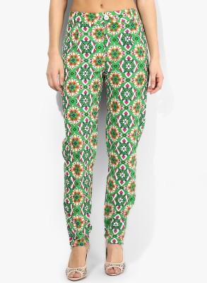 Avishi Slim Fit Women's Light Green, White, Orange Trousers