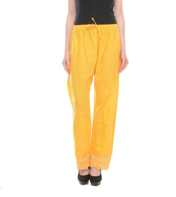 Stay Blessed Regular Fit Women's Yellow Trousers