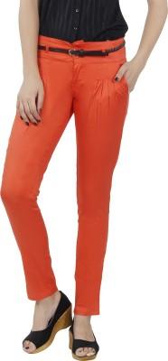 F Fashion Stylus Slim Fit Women,s Orange Trousers