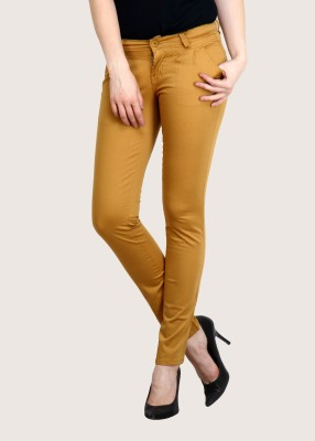 Fashion Cult Slim Fit Women,s Gold Trousers