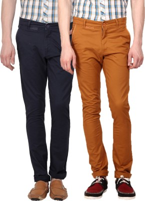 I-Voc Slim Fit Men's Dark Blue, Brown Trousers