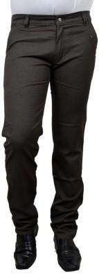 Risingfeathertofly Slim Fit Men's Brown Trousers