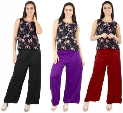 Fashion Flow+ Regular Fit Women's Black, Purple, Maroon Trousers