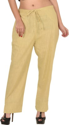 Zaributi Regular Fit Women's Beige Trousers at flipkart