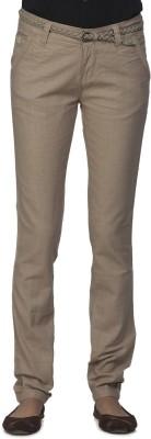 Ixia Slim Fit Women's Beige Trousers