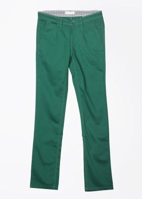 John Players Slim Fit Men's Green Trousers