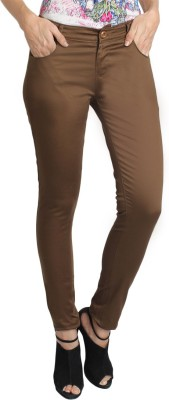 AVE Slim Fit Women's Brown Trousers