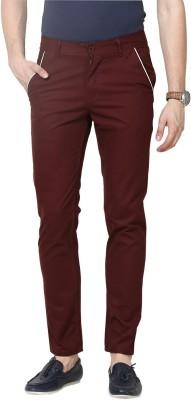 Hubberholme Slim Fit Men's Maroon Trousers