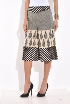 Desi Weaves Regular Fit Women's White, Black Trousers