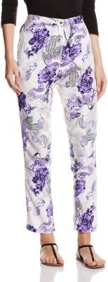 Atayant Regular Fit Women's White, Purple Trousers