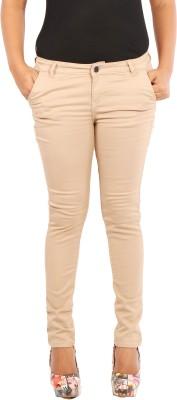 Showoff Skinny Fit Women's Beige Trousers