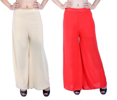 Ajaero Regular Fit Women's Gold, Red Trousers