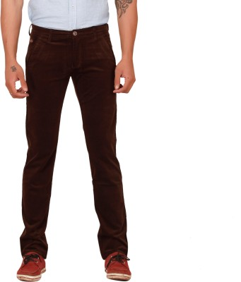 Scotlane Slim Fit Men's Brown Trousers