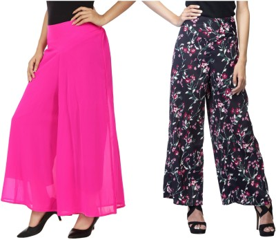 Lambency Regular Fit Women's Black, Multicolor, Pink Trousers