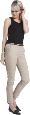 Vero Moda Slim Fit Women's Brown Trousers at flipkart