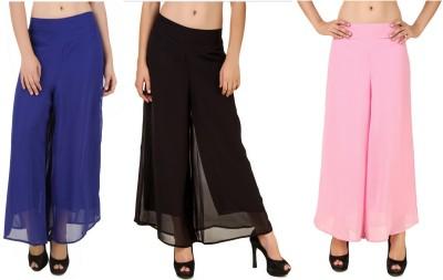 CHIKFAB Regular Fit Women's Blue, Black, Pink Trousers