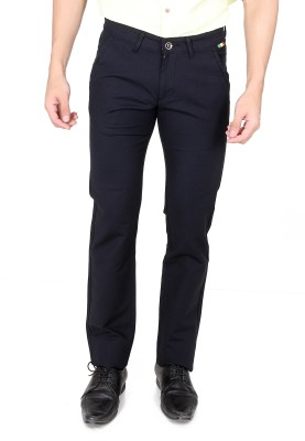 TRI-THE REAL INDIANS Slim Fit Men's Blue Trousers
