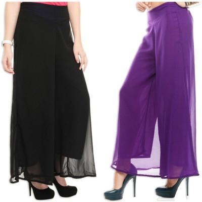 Esszee Regular Fit Women's Black, Purple Trousers