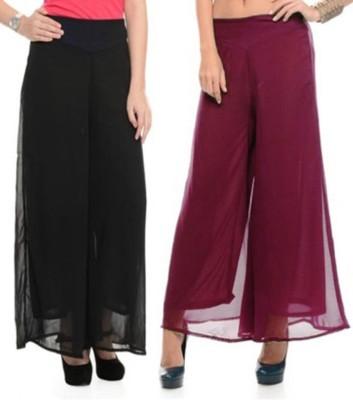 Kyron Regular Fit Women,s Black, Maroon Trousers