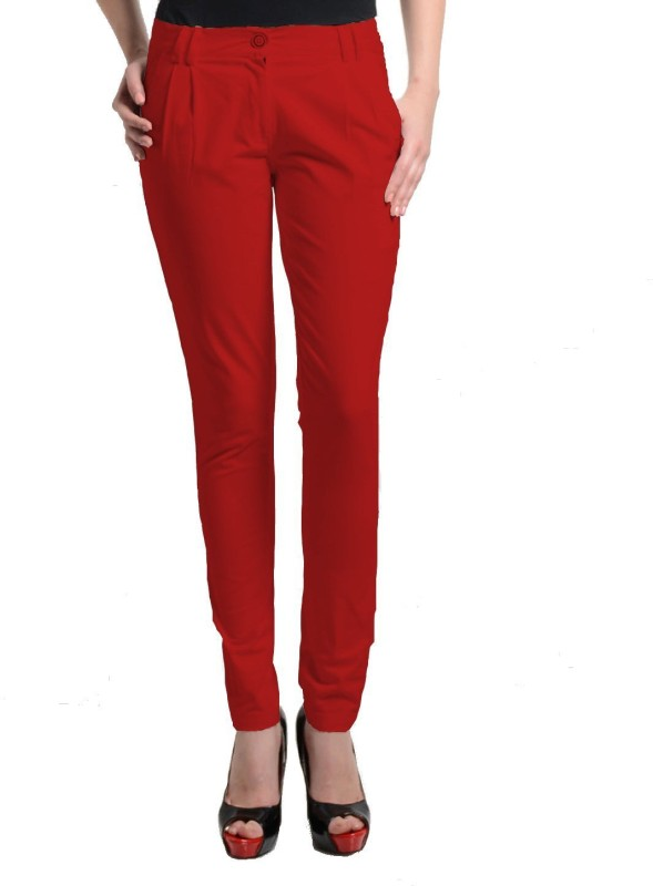 Cottinfab Regular Fit Women's Red Trousers