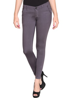Bedazzle Slim Fit Women's Grey Trousers