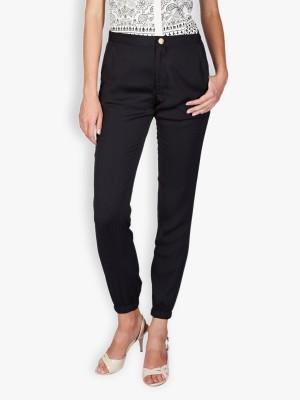 Tokyo Talkies Slim Fit Women's Black Trousers
