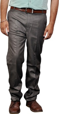 Desi Corporate Slim Fit Men's Green, Brown Trousers