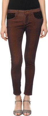 GOFAB Skinny Fit Women's Red Trousers