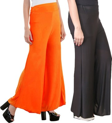 Aadhar Creations Regular Fit Women's Linen Black, Orange Trousers