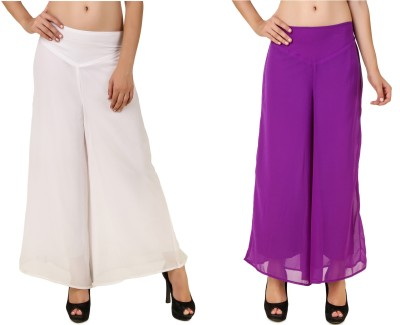 RoseBella Regular Fit Women's White, Purple Trousers