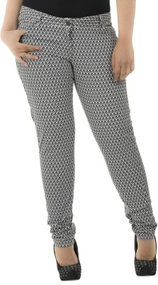 LASTINCH Regular Fit Women's Black, White Trousers at flipkart