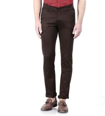 Flyjohn Slim Fit Men's Brown Trousers