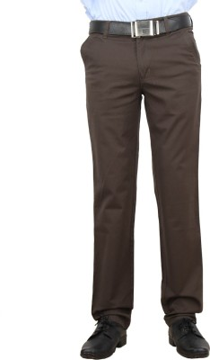 F FASHIONSTYLUS Regular Fit Men's Brown Trousers