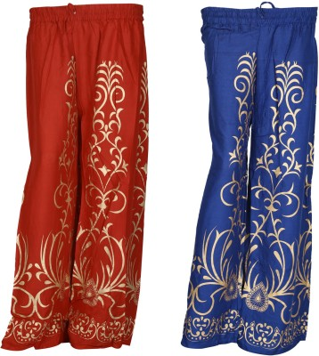 SAANKHYA Regular Fit Women's Red, Purple Trousers