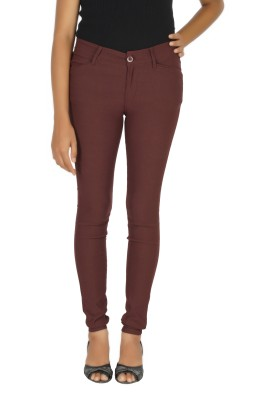 Smart Lady Slim Fit Women,s Brown Trousers