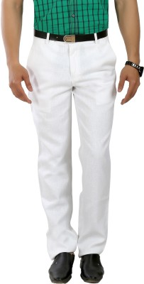 Boy Adam Slim Fit Men's Linen White Trousers