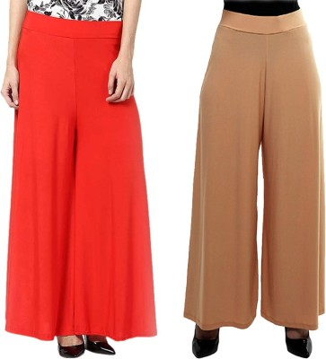 Komal Trading Co Regular Fit Women's Red, Beige Trousers