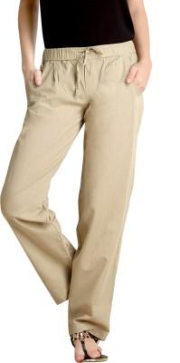 Loco En Cabeza Regular Fit Women's Linen Beige Trousers