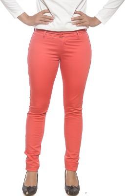 Spykar Slim Fit Women's Orange Trousers
