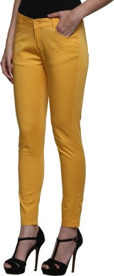 Prakum Skinny Fit Women's Yellow Trousers