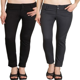 NGT Slim Fit Women's Black, Grey Trousers