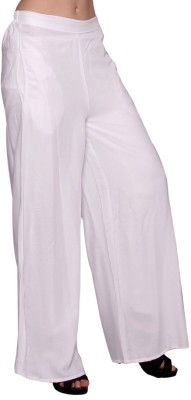 MSONS Regular Fit Women's White Trousers