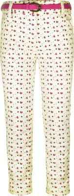 Caca Cina Slim Fit Girl,s Cream Trousers