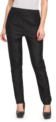 Just Wow Slim Fit Women's Black Trousers