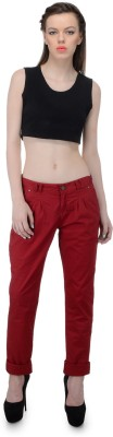 FIBRE WORLD Regular Fit Women,s Maroon Trousers