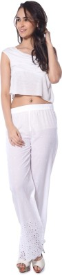 Florriefusion Regular Fit Women's White Trousers