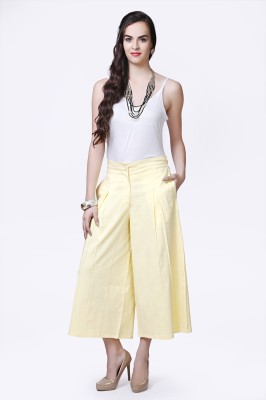 Glam And Luxe Regular Fit Women,s Cream Trousers
