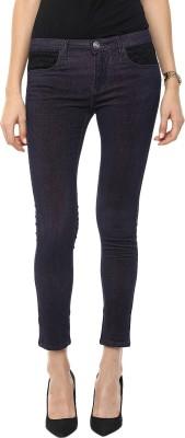 GOFAB Skinny Fit Women's Blue Trousers